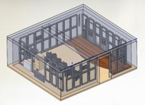 3D модель модульной акустической оболочки домашнего кинозала
